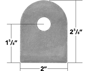 "Picture of Weld On Flat Tab 9/16"" Hole (10 Pack)"